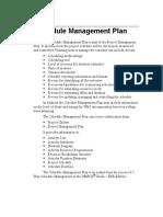 Schedule Management Plan Description