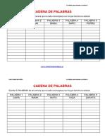 Actividaes Dislexia Cadena de Palabras Plantilla
