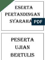 Peserta Pertandingan Syarahan (Label)