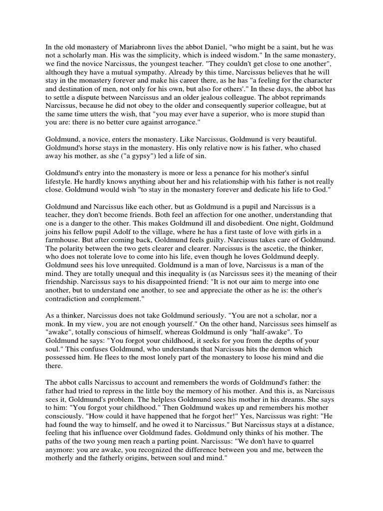 narcissus and goldmund analysis