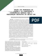A PREVENÇÃO DOS PROBLEMAS DE APRENDIZAGEM  E AS CAPACIDADES E COMPETÊNCIAS MÍNIMAS para PARARTICIPAÇÃO PRODUTIVA NO Século XXI
