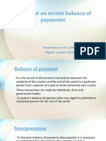 Comment on Recent Balance of Payments