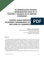Técnicas de Reproducción Humana Asistida. Determinación Legal de La Filiación y Usurias en El Derecho Comparado