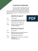 NYS Teamsters PR Fund Retiree Rep Treasury Deptartment Town Hall Meetings Notice