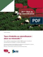 Dossier Thematique 26 Taux d Interet en Microfinance
