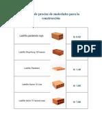 Listado de Precios de Materiales Para La Construcción