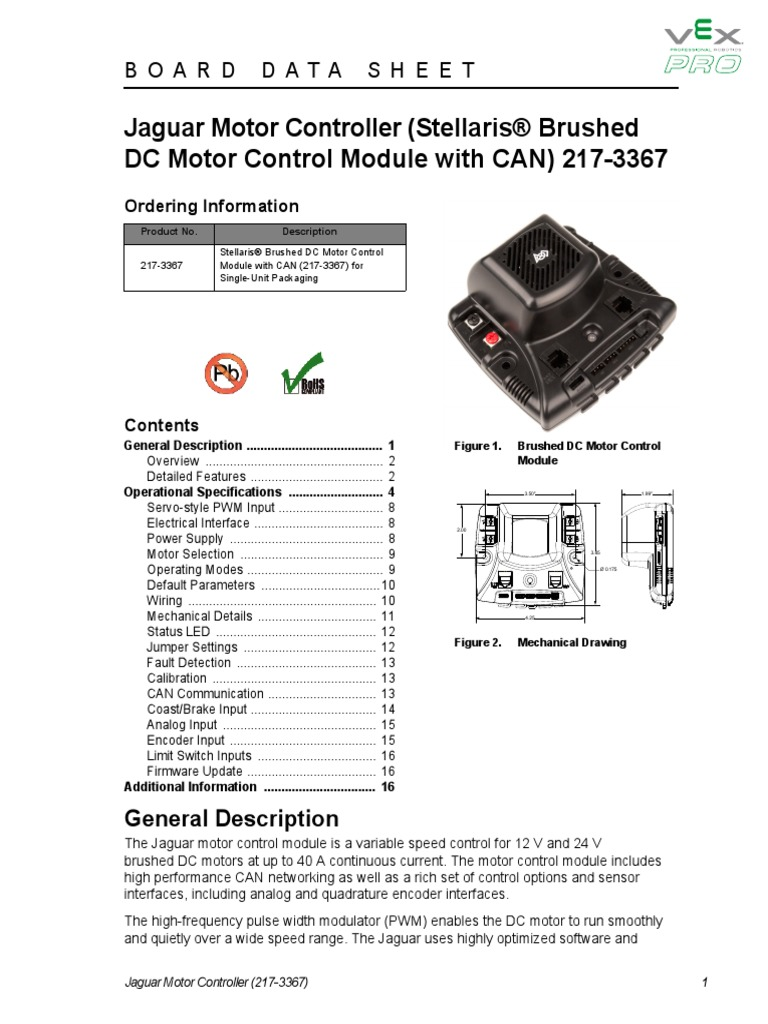 Frc Jaguar Datasheetpdf Control Theory Electrical Components Brush Dc Motor Controller Wiring Diagram