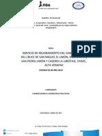 03-2017 Sistema de Mejoramiento Del Camino Rural Cruce San Miguel Limón La Libertad