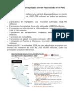 Proyectos de Inversión Privada Que Se Hayan Dado en El Perú