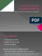 Copy Reading & Headline Writing - Copy