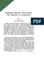 Hrabanus Maurus' Martyrology the Method of Composition by J. McCULLOH