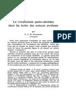 Le Vocabulaire Paléo-chrétien Dans Les Écrits Des Auteurs Profanes Par G. J. M. BARTELINK