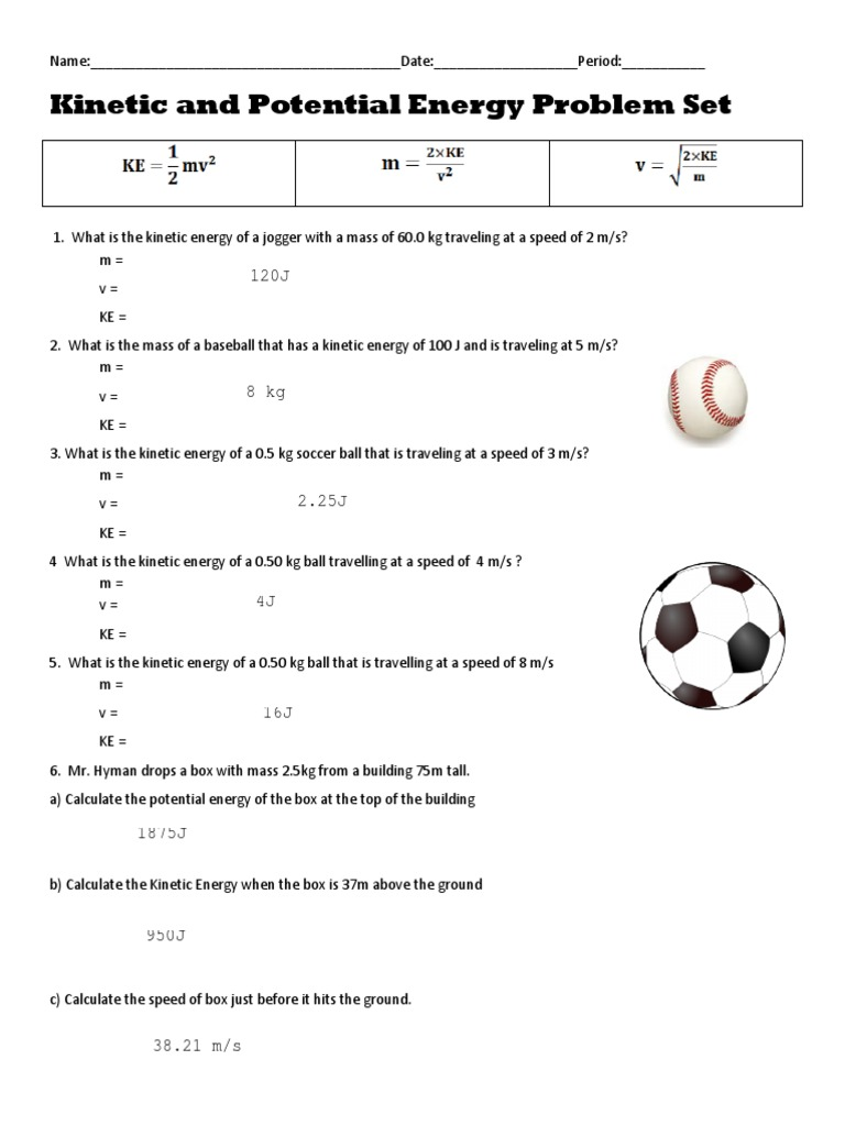 worksheet. Kinetic And Potential Energy Calculations Worksheet ...