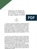 Répertoire Des Manuscrits Des Homélies Sur l'Evangile de Saint Grégoire Le Grand Par R. ETAIX