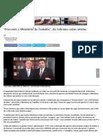 _Procurem o Ministério Do Trabalho_, Diz Feliciano Sobre Artistas