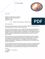 Lower Mount Bethel Opposition Letter to Synagro Biosolids facility proposed for Plainfield Township June 2017