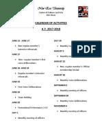 Calendar of Activities 2017