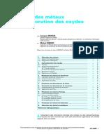 Chloration Des Métaux Et Carbochloration Des Oxydes
