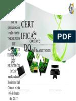 Certificado Charla Residuos Tecnologicos