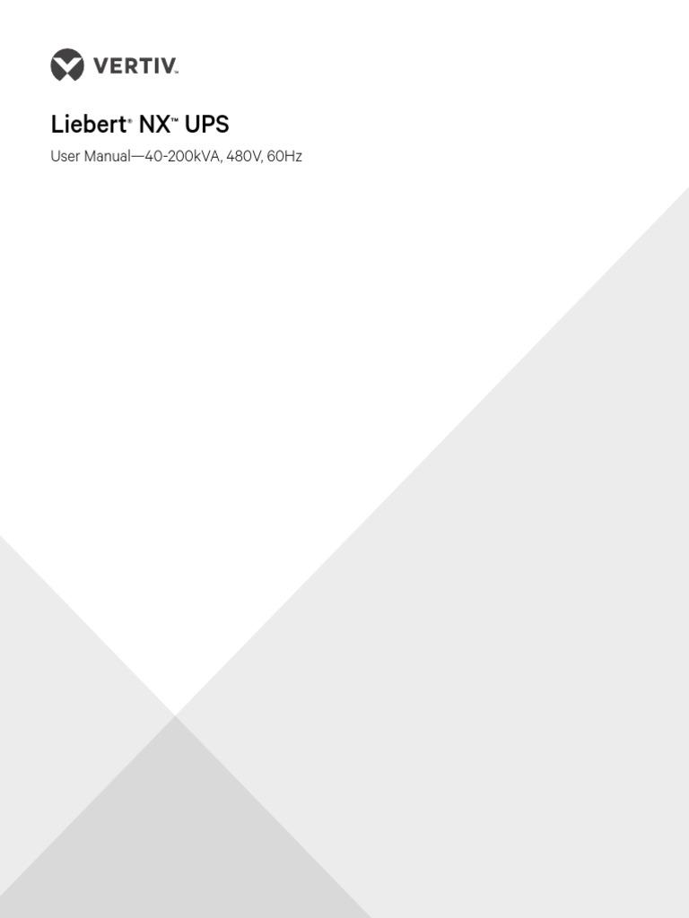 Liebert Nx Ups 40 200kva User Manual | Electrical