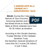 SHIRDI SHRINE GETS Rs.3 CRORES IN 3 DAYS`GURUPURNIMA`2010