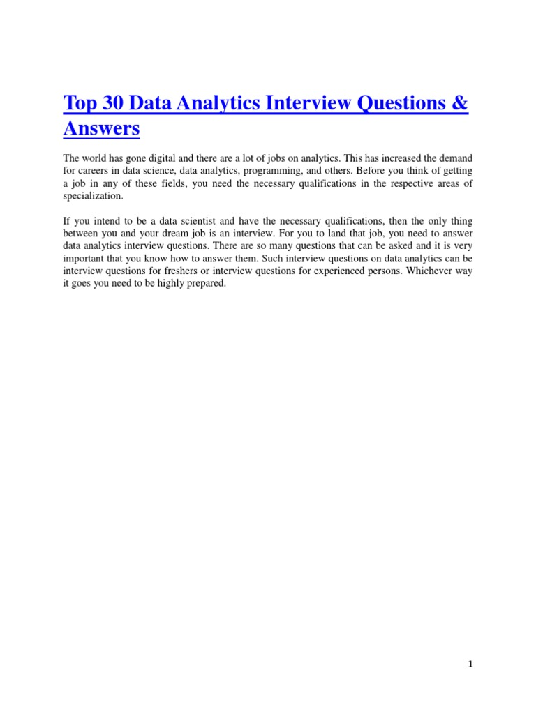 top 30 data analytics interview questions answers data analysis analytics - Data Analyst Interview Questions And Answers