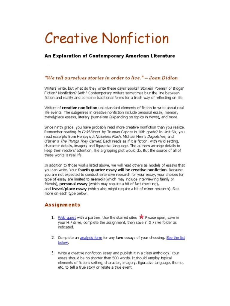 Write creative nonfiction essays coursework academic writing service