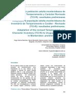 Selma, H. (2017). Adaptación a Población Adulta Montevideana de La Escala de Temperamento y Carácter Revisada (TCI-R), Resultados Preliminares