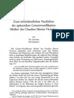 Zum Mittelalterlichen Nachleben Der Spätantiken Genesisversifikation 'Alethia' Des Claudius Marius Victorius Von Th. GÄRTNER