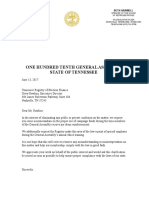 Letter from Lt. Gov. Randy McNally and House Speaker Beth Harwell to the Tennessee Registry of Election Finance