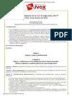 Bolivia_ Reglamento de La Ley de Migración, DS Nº 1923, 13 de Marzo de 2014