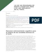 Desarrollo de Un Programa de Entrenamiento Cognitivo Para La Mejora de Las Variables Tácticas en El Tenis
