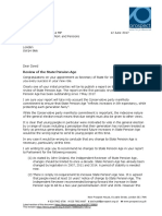 Letter to Work and Pensions Secretary regarding State Pension Age.