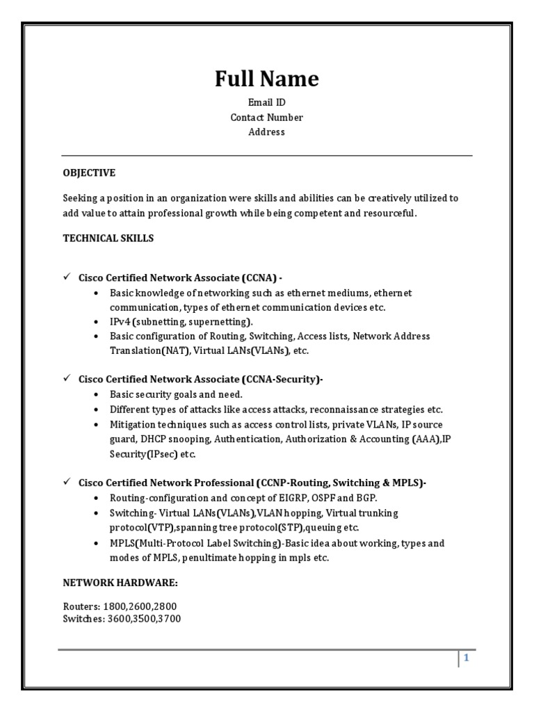 sample resume fresher ccna multiprotocol label switching computer network - Different Types Of Technical Skills