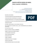 2do Manifiesto de Llanquirimachi -  Del arte, los artistas, la poesía, la disidencia.