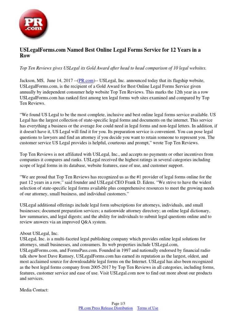 Uslegalforms Com Named Best Online Legal Forms Service For 12 Years