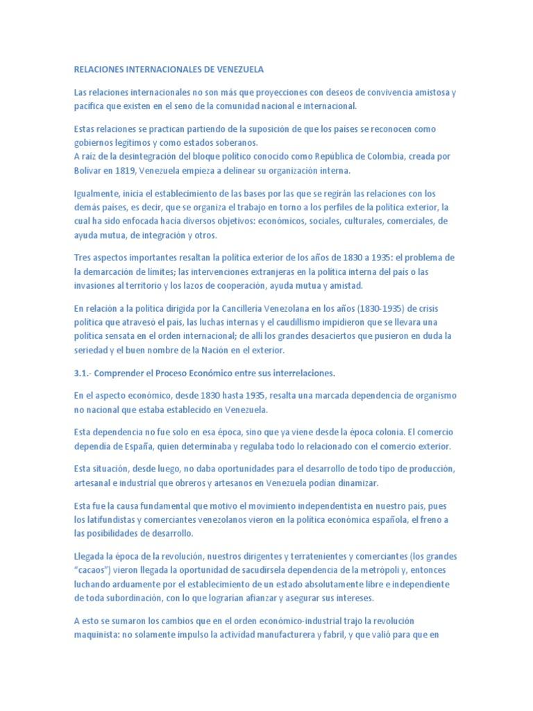Relaciones Internacionales De Venezuela 1830 1935