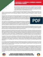 Declaración Comunistas U. de Chile sobre ley de Universidades Estatales