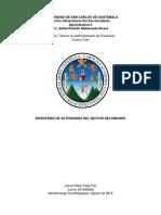ACTIVIDADES SECTOR SECUNDARIO GUATEMALA AGROINDUSTRIA