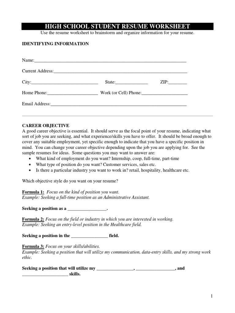 high school student resume worksheet pdf résumé secondary school
