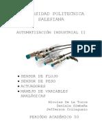 Sensores de Flujo Peso Variables Analogicas