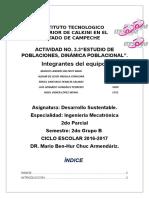 Actividad 3.3 Parcial 2 Desarrollo Sustentable- Estudio de Poblaciones, Dinámica Poblacional Equipo