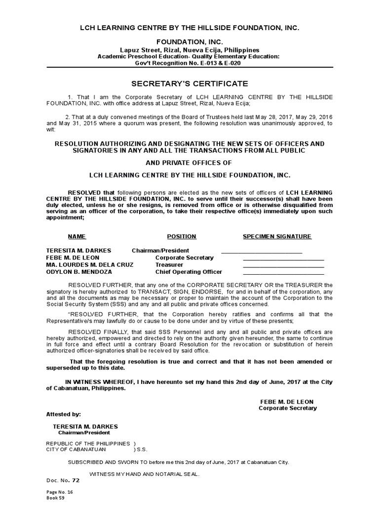 Secretary S Certificate To Open Account Cheque