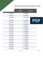Lista Oficial de Precios Unitarios Fijos Para Contratistas Con Tarjeta Profesional 2017