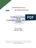 IAF-MD1-2007 Certification of Multiple Sites Based on Sampling