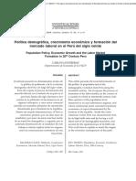 Política demográfica, crecimiento económico y formación del mercado laboral en el Perú del siglo veinte