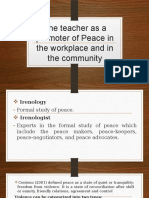 The Teacher as a Promoter of Peace In