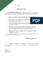 Affidavit of Loss LANDBANK ATM