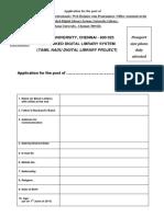 TNDL Project Staff Application Form