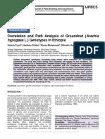 Correlation and Path Analysis of Groundnut (Arachis hypogaea L.) Genotypes in Ethiopia